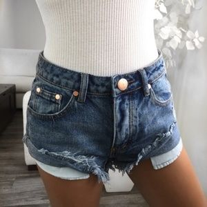 ekAttire Hailey Classic Blue Denim Cutoff Shorts